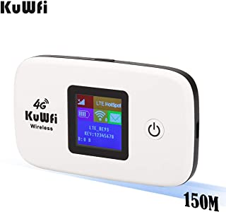KuWFi 4G LTE Mobile WiFi Hotspot Unlocked Wireless Internet Router Devices with SIM Card Slot for Travel Support B2/B4/B5 in USA/CA/MX