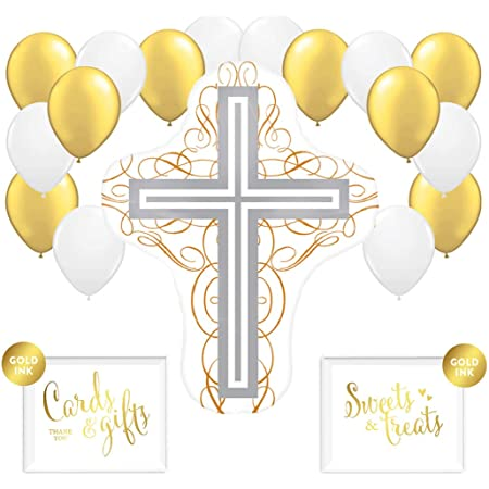 CHRISTENING COMMUNION Baby Baptism HELIUM Easter BALLOONS Party Boy Girl Cross