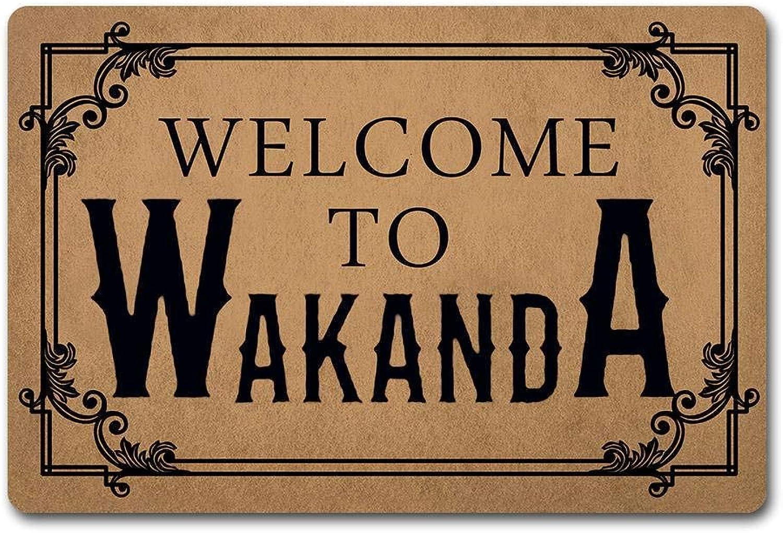 ZQH Entrance Door Mat Welcome to Wakanda Doormat Black Panther Rugs Monogram Door Mats (23.6 X 15.7 in) Non-Woven Fabric Top a Anti-Slip Rubber Back Door Rugs Washable Doormat