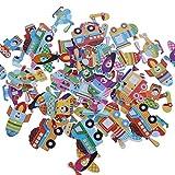 Bottoni in Legno Colorati, 50 Pezzi Bottoni Colorati Decorativi in Legno Bottoni Animaliper Cucito Bambini Assortiti Pulsanti per Decorazioni Cucito Fai da Te Scrapbooking Artigianato Bricolage