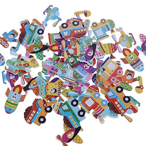 Caricatura Madera Botones de Colores,50 Piezas Botones Madera Infantiles Colores Mezclados Animales Botones de Madera Botones Infantiles para Costura Artesanía Scrapbooking DIY Y Elaboración