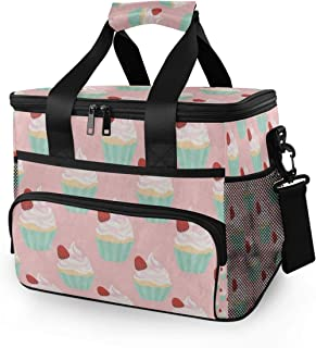 Rachel Dora 15L Picnic Basket Keeps Food Hot/Cold for 12 Hours Lunch Tote Fashion Strawberry Cupcake Insulated Picnic Cooler Bag for Grocery, Camping, Car,Travel, Shopping, Outdoor