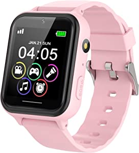 PTHTECHUS Kids Educational Smartwatch with SOS Call Games Music MP3 Flashlight Alarm 1.54-in Color TouchscreenPedometer Watch is a Gift for Boys Girls Instead of Mobile Phone