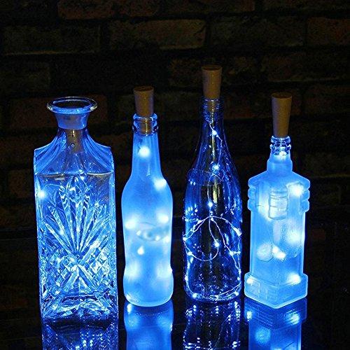 AAA226 Guirlande lumineuse 15/20 LED pour bouteille de vin - Fil argenté - Fonctionne à piles - 2 m (bleu)