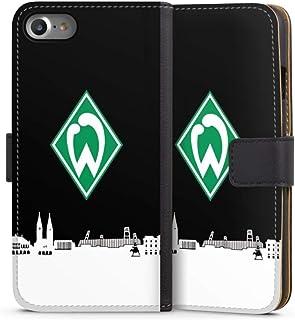 DeinDesign Klapphülle kompatibel mit Apple iPhone 8 Handyhülle aus Leder schwarz Flip Case Offizielles Lizenzprodukt Skyline SV Werder Bremen