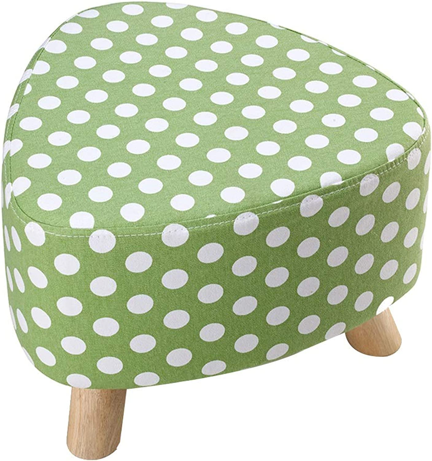 WEIYV-Barstools,bar Chair Triangle Small Stool Washable Change shoes Stool European Style Cloth Sofa Stool Wearing shoes Low Stool Solid Wood Seat (30 39cm) (color   Green 39cm, Size   A)