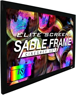 Elite Screens Sable Frame CineGrey 3D, 120-inch Diagonal 16:9, 8K 4K Ultra HD Ready Ceiling and Ambient Light Rejecting Fixed Frame Projector Screen, CineGrey 3D Projection Material, ER120DHD3