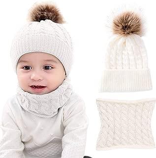 Sofenny Niños Sombrero y Bufanda Conjunto Unisex Niños Niñas Invierno Bebe Gorros con Pompon Y Bufanda de Punto Cuello Redondo para 0-24 Meses Niña Niño