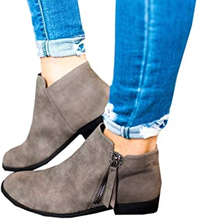 Ruanyu Womens Ankle Boots Low Stacked Heel Round Toe Side Zipper Winter Western Booties