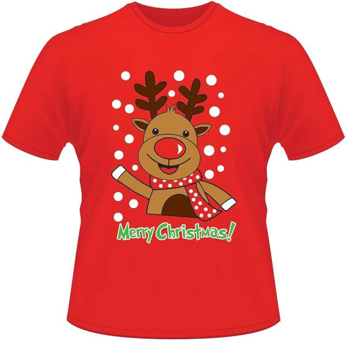 Be Jealous para Hombre de Navidad Pingüino Cuerno Muñeco de Nieve Copos de Nieve Santa Reno Jersey Redondo Camiseta Cuello Redondo