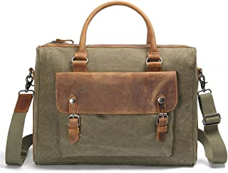 Men's Accessories Office Vintage Style 13 Inch Laptop Handbag Casual Business Briefcase Shoulder Messenger Satchel Bag,Blue/Brown/Gray/Green/Khaki Outdoor Recreation (Color : Khaki)