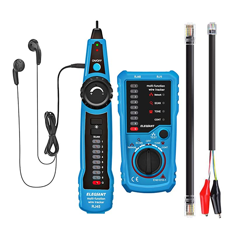 Wire Tracker, ELEGIANT RJ11 RJ45 Cable Tester Line Finder Multifunction Wire Tracker Toner Ethernet LAN Network Cable Tester for Network Cable Collation, Telephone Line Tester, Continuity Checking