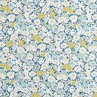 綿麻キャンバス 生地 ダルフラワー 50cm単位販売 布 綿 麻 (ブルー地×ブルー・グリーン)