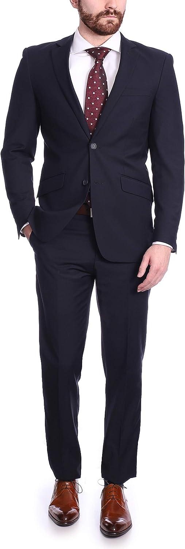 Raphael Men's Regular Classic Fit Solid Color 2 Button Mens Suit