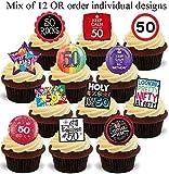 50. Geburtstag Mix von 12-12 essbare hochwertige stehende Waffeln Karte Kuchen Toppers Dekorationen, 50th Birthday Mix of 12-12 Edible Stand Up Premium Wafer Card Cake Toppers Decorations