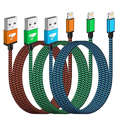 iPhone Ladekabel, Lightning Kabel 3Pack 2M Schnellladekabel iPhone MFi Zertifiziert iPhone Kabel Nylon Langes USB Ladekabel für iPhone 11 12 Pro Max Mini XR XS X 10 8 7 6 6s Plus SE 2020, iPad Air