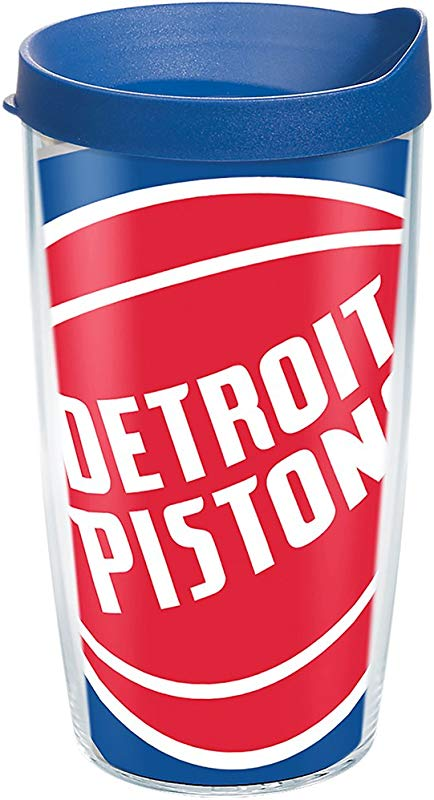 Tervis 1275148 NBA Detroit Pistons Colossal Tumbler With Wrap And Blue Lid 16oz Clear