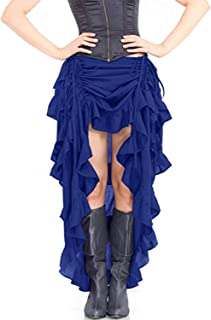 Quesera Women's Steampunk Skirt High Low Victorian Retro Gothic Rock Overskirt