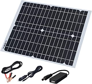 XINPUGUANG 20 Watt 18 Volt Monocrystalline Flexible Solar Panel Kit,Solar Cable with 5V USB,Cigarette Lighter,Alligator Clip Charge for Mobile Phone ,car Battery ,and Other Electronic Devices