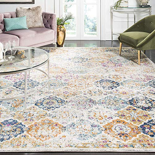 Safavieh Madison Collection MAD611B Bohemian Chic Vintage Distressed Area Rug, 9' Square, Cream/Multi