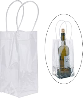 Wine Ice Bag, Sdootjewelry 12 Pack PVC Ice Bags for Wine Bottles, Transparent Wine Cooler Bags, Clear Wine Pouch Cooler Bags with Handles