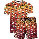 T-Shirt Shorts Set 2 Pezzi - Delizioso Modello Di Sushi 3D Stampa Abbigliamento Estivo T-Shirt A Maniche Corte Pantaloncini Completo Arbitrary Match Chic Beach Set Due Pezzi Set Da Uomo Casual, Pa