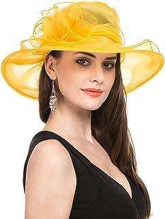 cd485f98fa181f Lucky Leaf Women Kentucky Derby Church Beach Fascinators Hat Wide Floral  Brim Flat Hat with Bowknot