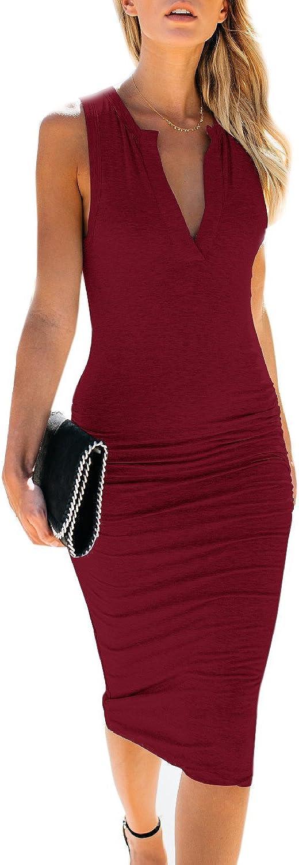AELSON Women's Sleeveless V Neck Ruched Bodycon Midi Tank Dress