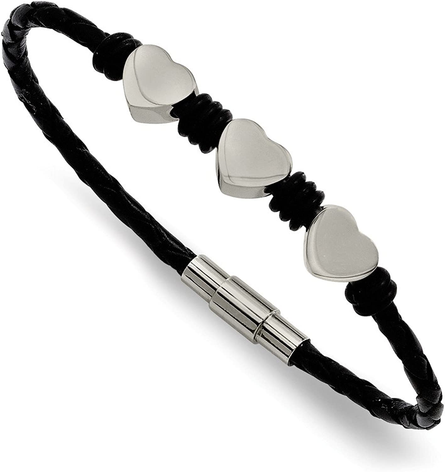 Beautiful Stainless Steel Black Leather w Polished Hearts 7.5in Bracelet