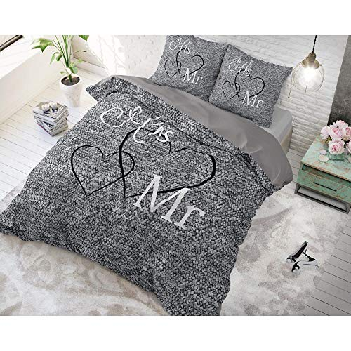 SleepTime Parure de lit en coton motif Mr. and Mrs. 3