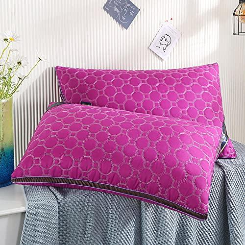 Almohada,Diseño ergonómico para un Mejor Soporte para Dormir en la Cabeza, el Cuello y los Hombros Almohada -Rosa roja_48 * 74cm uno