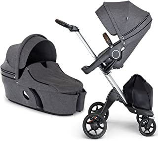 Stokke Xplory V6 Silver Chassis Stroller with Brown Leatherette Handle, Black Melange with Carry Cot