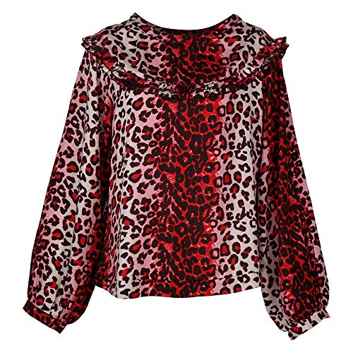 Goldmarie Blusenshirt Leo Animal Print Muster Bluse Langarm Shirt Leopardenmuster rot...