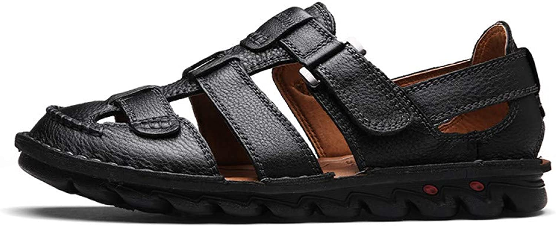 TDPYT Men'S Summer Sandals Genuine Leather Men shoes Hook-Loop Beach Men Sandals