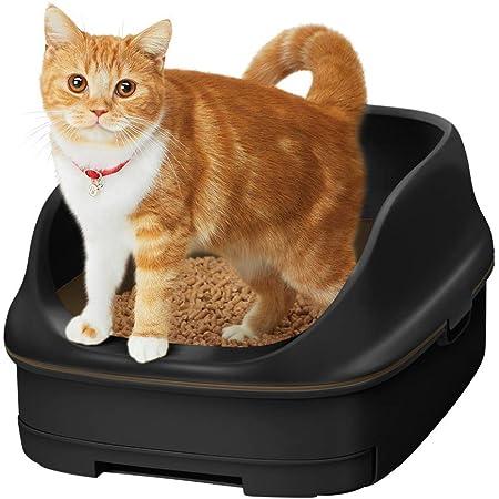 【返金キャンペーン中】[Amazon限定ブランド] スマイリーBOX 猫用トイレ本体 ニャンとも清潔トイレセット [約1か月分チップ・シート付] オープンタイプ カフェブラウン&チャコール (猫ちゃん想い設計) 猫砂