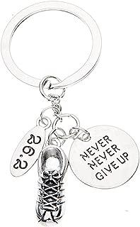Marathon Runner Gifts- Never Give Up Runner Keychain, Running Jewelry, Marathon Jewelry, 26.2 Keychain, Runner Gift