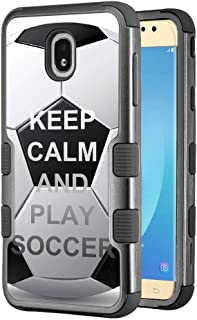 for Samsung Galaxy J7 Star / J7 Crown / J7 Aura / J7 Refine / J7 (2018), One Tough Shield 3-Layer Shockproof Protector Phone Case - Keep Calm Soccer