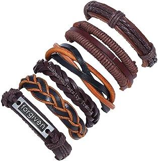 University Trendz Stylish Multicolor PU Leather Multi-Strand Forgiven Word Braided Adjustable Leather Base Metal Bracelet ...