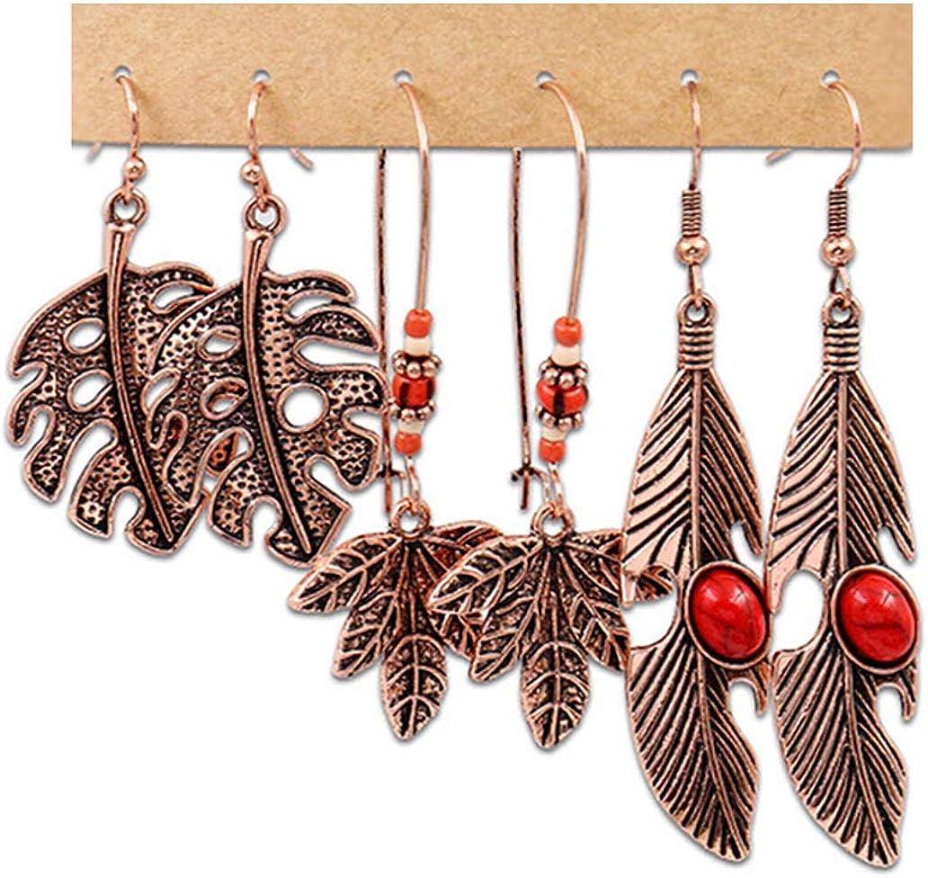 Mooinn 3 Pairs Department store Boho Vintage Max 66% OFF Nation Bohemian Dangle Drop Earrings