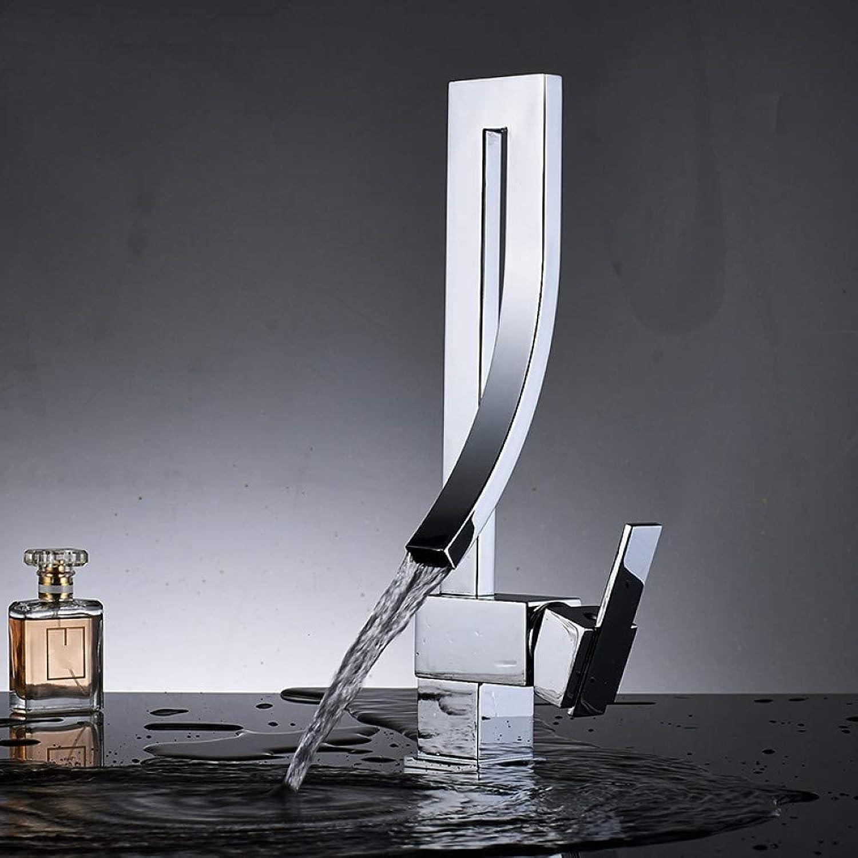 ZHFJGKR&ZL TaP Chrome Bathroom Basin Faucet Brass Deck Mounted Waterfall Mixer Taps Single Handle Hot Cold Water Mixer Tap