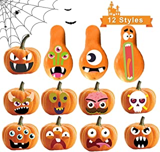 Sunlier Pumpkin Decorating Craft Kit, Pumpkins 12 Designs 4 Pack for Halloween Party Supplies Favors