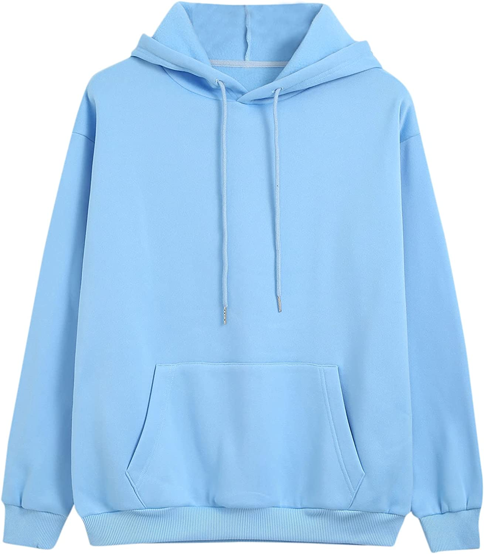 MakeMeChic Women's Kangaroo Pocket Drawstring Long Sleeve Hoodie Casual Hooded Sweatshirt