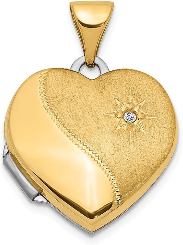 14k Two Tone Yellow Gold 15mm Reversible Diamond Heart Photo Pendant Charm Locket Chain Necklace That Holds Pictures Fine Jewelry For Women Gifts For Her