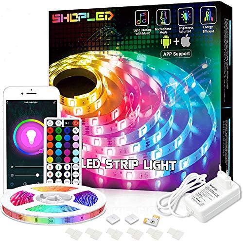 Striscia LED Compatibile con Alexa Google Home, SHOPLED 5M Smart WiFi LED Striscia controllata App e Telecomando, Sincronizza con Musica, RGB 5050 Nastri Led per Casa soggiorno Festival Decorazione