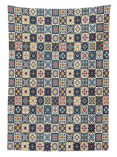 Yeuss - Mantel marroqui por portugues azulejo cuadrado a cuadros colorido patron floral arreglo, comedor, cocina, mesa rectangular, color azul oscuro, ambar rojo, 132 x 178 cm, 52\ x 70\(132 x 178 cm)