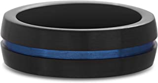 TwoBirch 7 MM Wide Men's Thin Blue Line Ring with High Polish Black Stainless Steel and Blue Steel Carbide Center