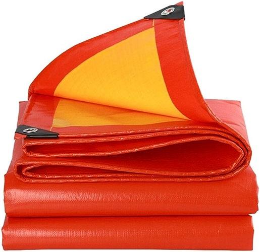 Waterproof Cloth Home Toile imperméable épaisse bache épaisse, Tapis de Camping en bache, Prougeection Solaire Anti-corrosif Anti-corrosif, Rouge + Orange (Couleur   A, Taille   5x6M)