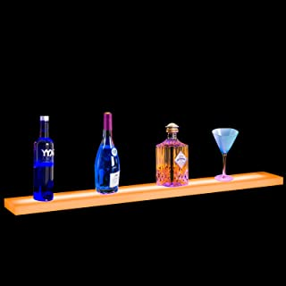 Nurxiovo 36 in Led Bar Shelf Floating Lighted Liquor Bottle Display Shelf LED Shelves Commercial Illuminated Bar Home Wall-Mounted Racks with RF Remote Control