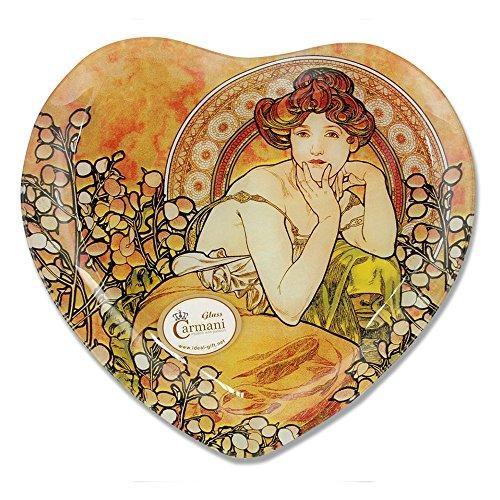 CARMANI - Coeur décoratif en Forme de Plaque imprimé avec la Peinture Mucha, Topaz 25x23cm