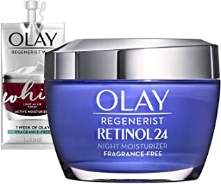 Olay Regenerist Retinol 24 Night Moisturizer Fragrance-Free + Whip Face Moisturizer Travel/Trial Size Gift Set